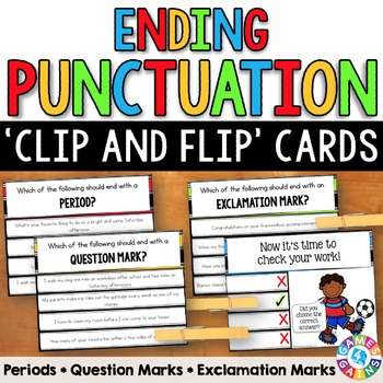 Ending Punctuation Task Cards (Periods, Question Marks, & Exclamation Marks)