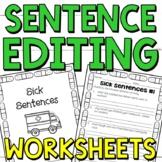 Sentence Editing No Prep Printables
