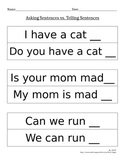 Punctuation: Asking Sentences vs. Telling Sentences (Cut and Paste)