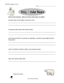 Punctuation Capitalization Animal DOL Packet Writing Worksheets