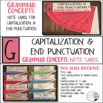 grammar concepts capitalization end punctuation note cards