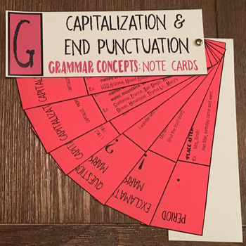 Grammar Concepts: Capitalization & End Punctuation Note Cards