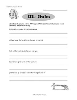 Punctuation Capitalization DOL Writing Worksheets Dolphins Giraffes