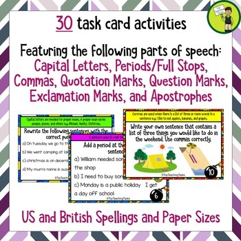 Punctuation Task Card Challenges