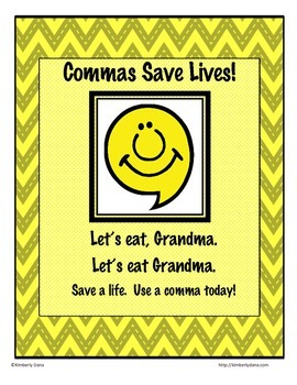"""Punctuation """"Commas Save Lives"""" Poster"""