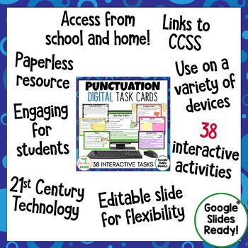 Punctuation Digital Task Cards Paperless Google Drive® Resource