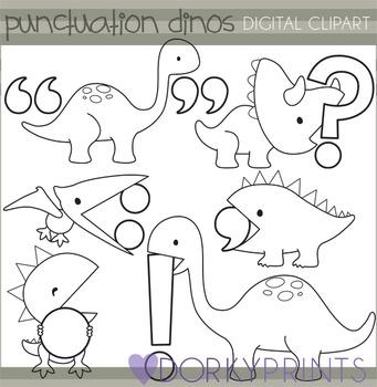 Punctuation Dinosaur Black Line Clipart