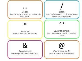 Punctuation Flash Cards. Preschool ELA flashcards.  Writing and Punctuation Edua