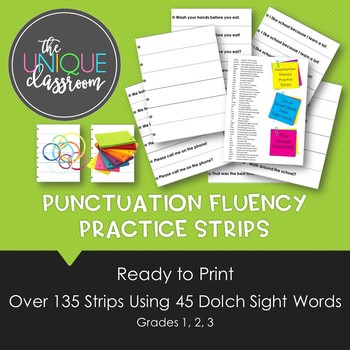 Punctuation Fluency Practice Strips for 2nd Grade
