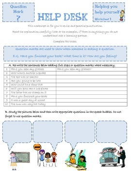 Question marks punctuation HELP DESK
