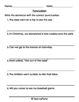 Punctuation L1.2b
