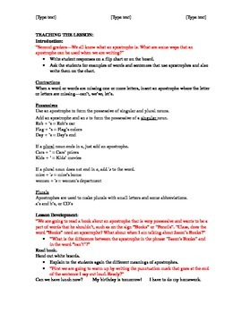 Punctuation Lesson Plan 2nd Grade