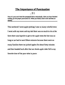 Punctuation Lesson Plan/Intervention