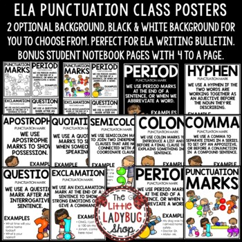 Punctuation Marks Anchor Charts & Punctuation Posters Classroom Decor