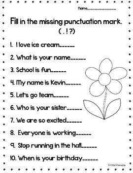 punctuation mark worksheet by firstie friendzie tpt. Black Bedroom Furniture Sets. Home Design Ideas