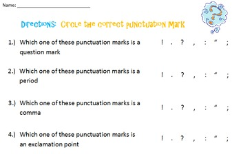 punctuation mark worksheet which mark is which by kelsey pierce. Black Bedroom Furniture Sets. Home Design Ideas