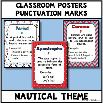 Punctuation Marks Nautical Theme Anchor Charts Posters