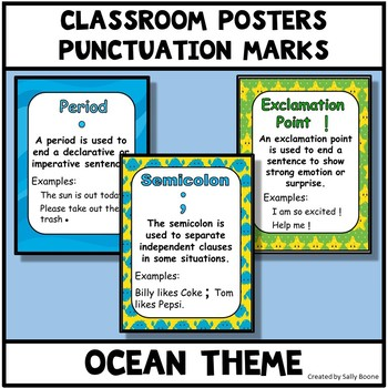 Punctuation Marks Ocean Theme Anchor Charts Posters