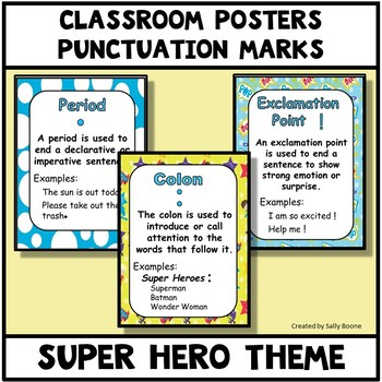 Punctuation Marks Super Hero Theme Anchor Charts Posters