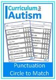 Punctuation Match Autism Special Education ESL