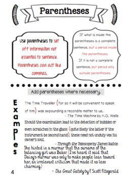Punctuation Mini Book: Dashes Colons Parentheses Brackets
