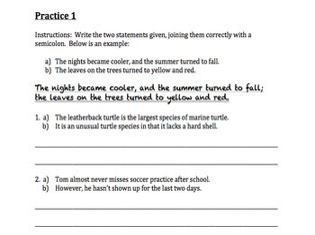 Punctuation Mini Unit: Semicolons (PowerPoint + packet w/ practice + quiz)