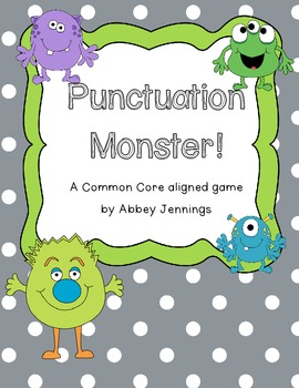 Punctuation Monster!  A Common Core aligned game