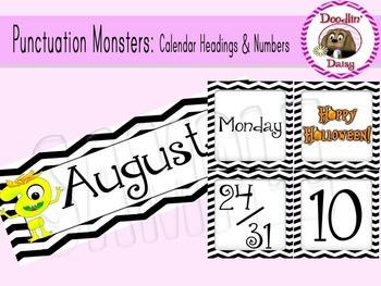 Punctuation Monsters:Calendar Headings & Numbers (Chevron)