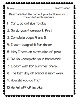 Punctuation NO PREP Packet