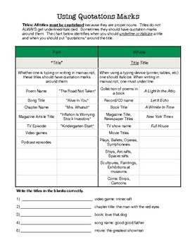 Quotations And Italics Worksheets & Teaching Resources | TpT