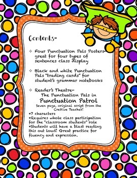 Punctuation Pals Reader's Theatre- Four Types of Sentences