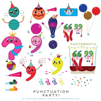 punctuation party punctuation marks clip art set by christine o rh teacherspayteachers com punctuation clipart clipart punctuation marks