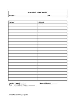 Punctuation Pause Checklist