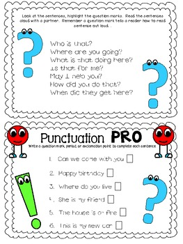 Punctuation People Mini Booklet