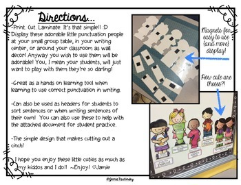 Punctuation People Pack with Student Application Sheets!