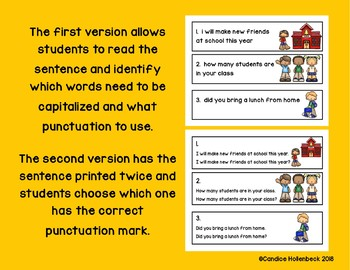 Back to School Punctuation Pick!  Sentence Practice (Literacy Center/Group Work)
