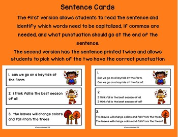 Fall Punctuation Pick! Sentence Practice (Literacy Center/Group Work)