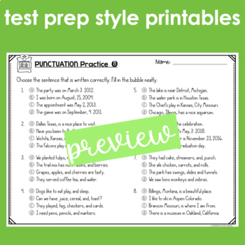 Punctuation Test Prep Print and Go