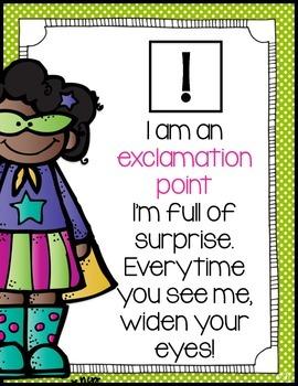 Punctuation Poem Posters - Superhero Themed