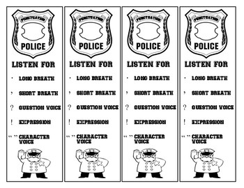 Punctuation Police Bookmark for Fluency!