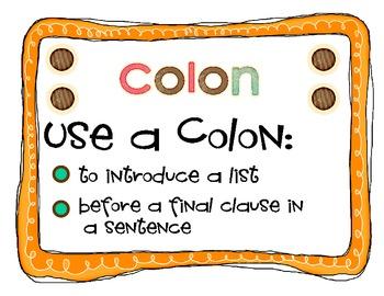 Punctuation Poster Set - Period, Comma, Colon , Hypen..