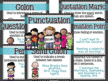 Punctuation Posters (Black Polka Dots)