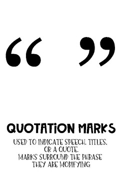 Black and White Punctuation Posters for Middle Grades
