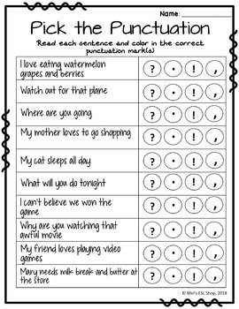 ESL Punctuation - Posters, Task cards, Worksheets & Activities