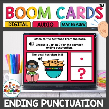 Punctuation Practice Boom Cards for Kindergarten