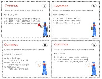 Punctuation Practice Comma Task Cards