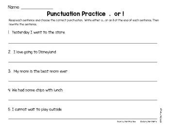 Writing Punctuation Practice Periods Question Marks Exclamation Points