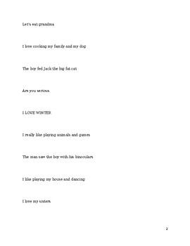 Punctuation Practice/Reading Fluency
