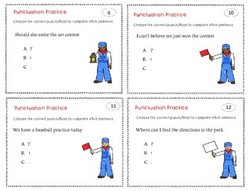 Punctuation Practice Task Cards
