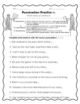Punctuation Practice Worksheets